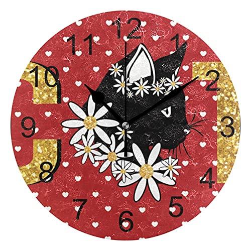 Reloj de Pared silencioso,Reloj de Cocina,Relojes de Cuarzo silencioso Que no Hace tictac,para Sala de Estar,dormitorios,(Diámetro: 25 cm),Corazones Lunares Gato Pared White Flower