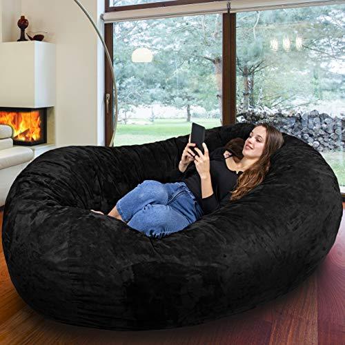 RIESEN SITZSACK MIT VELOUR KUSCHELBEZUG IN NACHT SCHWARZ! Der größte Sitzsack Europas - 1500 L Memory Schaumstoff Füllung - Gemütliches Sofa, Riesen Bett, Bean Bag für Kinder und Erwachsene