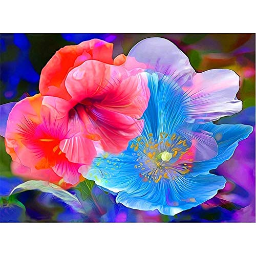 DIY 5D Diamond Painting Kits Blue Red Flowers Pictures Mosaics Adults Kids Full Drill Rhinestone Embroidery Cross Stitch Arts Crafts for Home Wall Decor Round Diamond 40x50cm