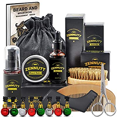 Beard Care Kit for Men w/Free Beard Shampoo,Beard Balm Butter,Beard Oil,100% Boar Beard Brush,Wood Beard Comb,Beard,Mustache Scissors,Fathers Valentines Day Gifts for Him Dad Boyfriend from ZENNUTT