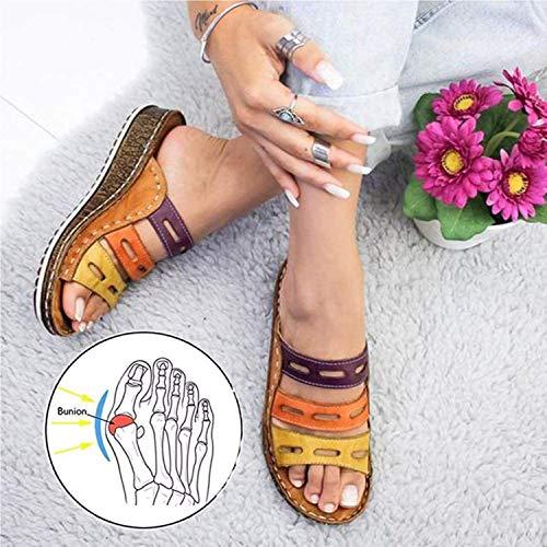 JHGF Sandalias planas de moda para mujer, sandalias ortopédicas con soporte de arco, sandalias de verano para deportes al aire libre, viajes en la playa, rojo, 41