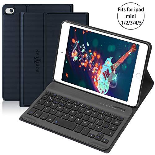 BORIYUAN Tastatur Hülle für ipad Mini 5/4 / 3/2 / 1 - Magnetischen Schlaf/Wach mit Abnehmbar Tastatur (QWERTZ Layout) - Navy blau