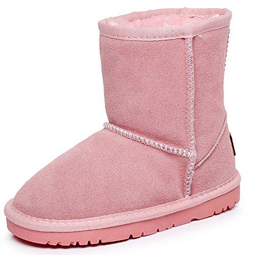 Shenn Chicos Chicas Invierno Calentar Clásico Comodidad Anti-Deslizante Ante Nieve Botas TD5825, rosa, EU29