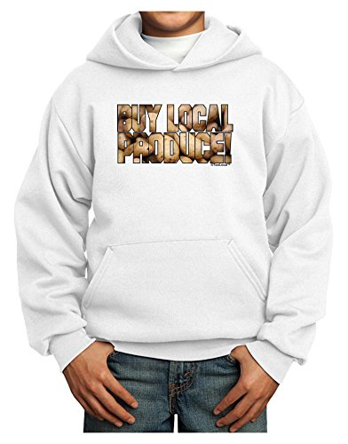 TOOLOUD Buy Local Produce Potatoes Text Youth Hoodie White Extra-Large