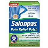 Salonpas - Parche para aliviar el dolor de mentol y salicilato de metilo, grande, 9 unidades, para espalda, cuello, hombros, dolor de rodilla y dolor muscular, alivio del dolor de 12 horas