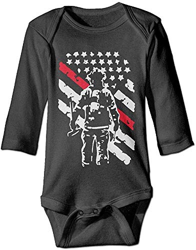 Firefighter Thin Red Line Baby Girls Boys Long Sleeve Bodysuit Jumpsuit Outfits