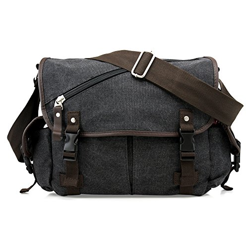 DESIGN & MATERIAL: Classic shape and stylish design with flap over and buckle strap closure. Made with durable canvas fabric and high quality PU leather material. Unisex design for men and women. UTILITY: Can be used as shoulder bag or messenger bag ...