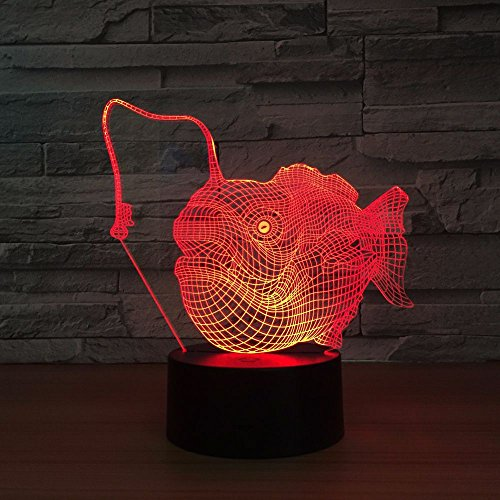 New 3D Small Fish Night Table Lamp Button 3D Table Lamp Audio Multi-Colored Kids Gift Worker Table Lamp for Children Room