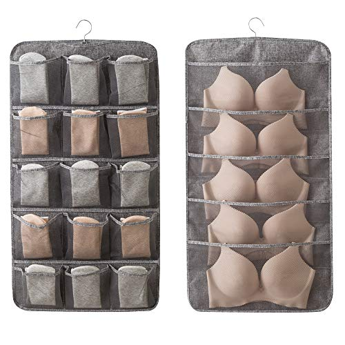 Linen Type Cloth Dual Sided Wall Shelf Wardrobe Organizers Storage Bags,Closet Hanging Organizer with 20 Expand Mesh Pockets & Rotating Metal Hanger,for Bra Underwear Underpants Shoes Sock (Gray)