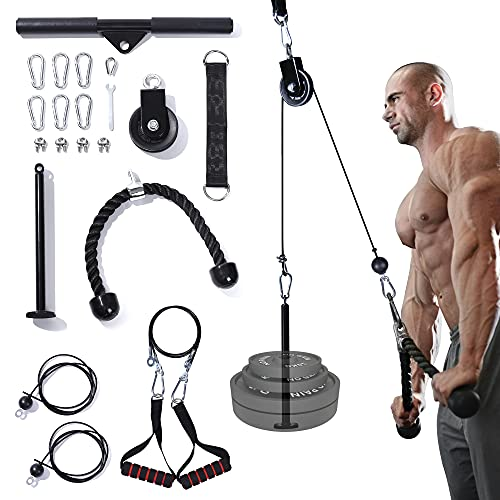 Nubical 4 in 1 Cable Pulley System Gym,Upgraded Fitness LAT and Lift Pulldown Attachments,LAT Pull Down Machine Home Workouts Gym Equipment for Shoulder,Biceps Curl,Forearm,Triceps Exercise