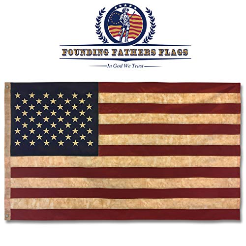 Founding Fathers Flags Embroidered Vintage American Flag- Premium Quality Oxford Poly - 3'x5' Vintage Heritage Edition w/Grommets