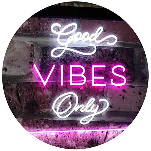 ADV PRO Good Vibes Only Home Bar Disco Room Display Dual Color LED Barlicht Neonlicht Lichtwerbung Neon Sign Weiß & Violett 300 x 210mm st6s32-i3076-wp