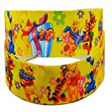 2m x 22mm Wide Yellow Happy Birthday Winnie The Pooh for Personalised Birthday Cake Decoration Ribbon Decorating Ideas for Present Gift Wrap Bows Toppers or Wrapping Box Bags Cards Art Craft