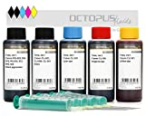 Octopus 5 x 100 ml de tinta de recambio, tinta de impresora compatible con los cartuchos de impresora Canon PGI-550, PGI-555XL, CLI-551, Canon Pixma MX 925, MX 725, MG 6350, MG 5450, IP 7250, (No OEM)