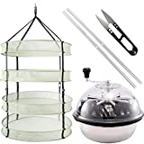 iPower GLTRIMBOWL16MDRYRD2L4 16-Inch Leaf Bowl Trimmer Twisted Spin Cut for Plant Bud and 2 Feet Diameter with 4 Layers Clip on Hanging Herb Drying Rack Net, 2FT 4L