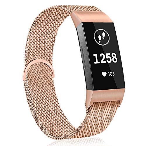 AK Armband für Fitbit Charge 3 Armband, Metall Ersatz Fitness Armbänder Voll Einstellbare mit Starkem Magneten Sperren für Fitbit Charge 3 (01 Roségold, S)