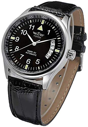 Fanmis Men's Automatic Self Wind Watches Arabic Numerals Calendar Dial Black Leather Strap Top Brand Fashion Wrist Watches