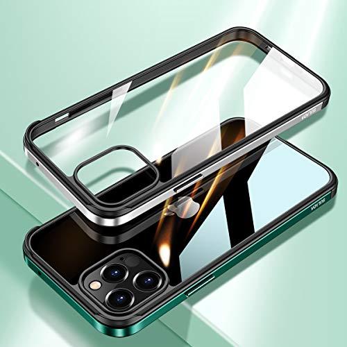 極薄 iPhone12 Proケース iPhone12 ケース アルミバンパー 背面 ナノガラス 耐衝撃 高級感 透明 クリア TPU アップル 6.1インチ アイフォン12 プロ ケース 背面カバー おしゃれ 格好いい 背面に強化ガラス キズ防止 (iPhone12/12Pro, ネイビー)