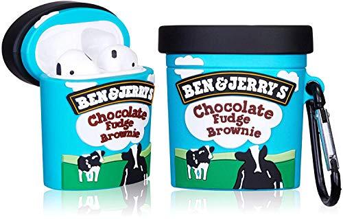 CoolKz Hülle für Airpods, Schokoladenbraunie-Eiscreme-Hülle, süßes 3D-Design für Mädchen, Jungen, Kinder, Teenager, weiches Silikon, kompatibel mit Airpods1 & 2