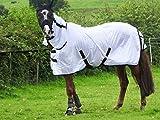 Turner Cool White Fly Rug for Horse / Pony / Shetland - Lightweight Full Neck Combo - 6'6'