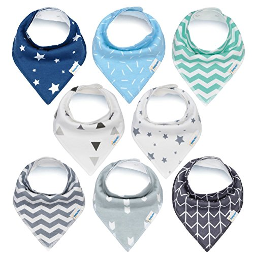 Baby Bandana Drool Bibs for Boys and Girls, 8 Pack Bib Set with Snaps for Drooling, Teething and Feeding, Soft and Absorbent, Baby Shower Gift for Newborn