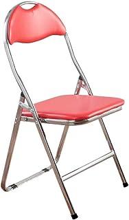RONGJJ Silla Plegable Silla de Escritorio Recepción de Oficina Silla de Escritorio Acolchada roja Cómodo Soporte Lumbar Acero ergonómico + Piel sintética,