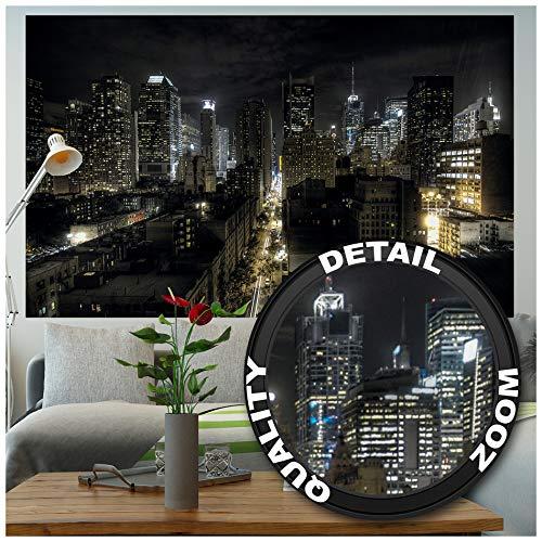 GREAT ART XXL Poster – Manhattan bei Nacht – Wanddekoration Skyline Ausblick Städte Sightseeing City Stadt Deko Fotoposter Wandbild New York Motiv Metropole Dekoration Wandbild (140 x 100 cm)