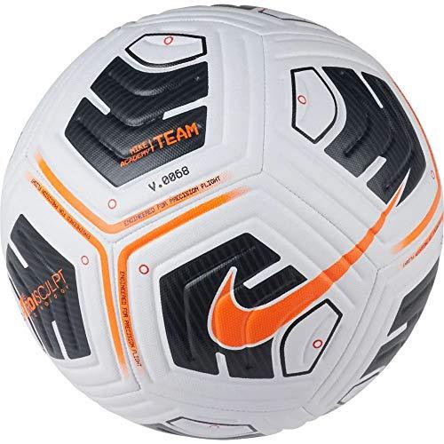 Nike Balón de fútbol Unisex Academy, Color Blanco/Negro/Naranja Total, 4