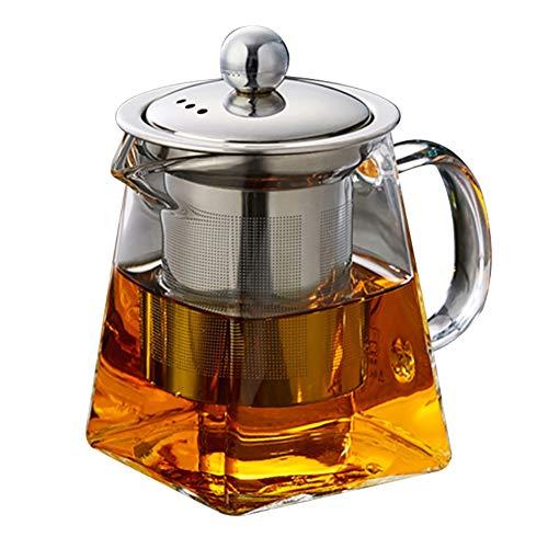 Quadratische Glas-Teekanne mit Teesieb, 750 ml, Borosilikatkanne für losen Tee, klare Teeblätter mit Sieb für herdofenfest, 550 ml