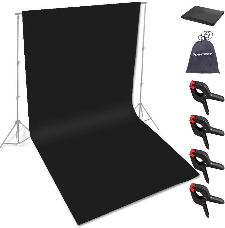 Spardar Pantalla de Fondo Fondo Plegable con Menos Arrugas (6.5 * 10FT / 2 * 3M Negro) para Retrato, fotografía de Producto y grabación de Video