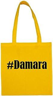 Tasche #Damara Größe 38x42 Farbe Gelb Druck Schwarz
