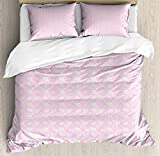 Blue and Pink King Bedding Duvet Cover 3 Piece, Pastel Pattern with Flower Petals and Herbs, Soft Bedding Protects Comforter with 1 Comforter Cover 2 Pillow Case, Baby Pink Baby Blue and Pale Yellow