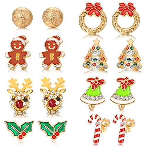 Set di 8 Paia di Orecchini a Bottone con Ciondoli Natalizi, Orecchini per Vacanze Orecchini di Natale per Donne e Ragazze