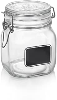 Bormioli Rocco Fido Square Clear Jar with Chalkboard, 25-1/4-Ounce, 3/4L