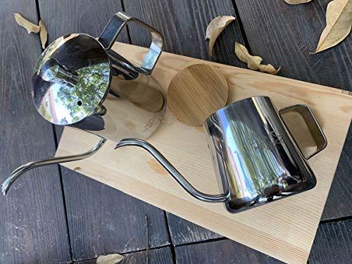 MERMOOYILANコーヒーポット蓋付きステンレス細口珈琲ハンドパンチポット1人用350mlIH対応長い口ポットグースネックポット