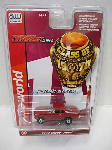 Auto World Thunderjet R28 1970 Chevrolet Nova (Red) HO Scale Slot Car