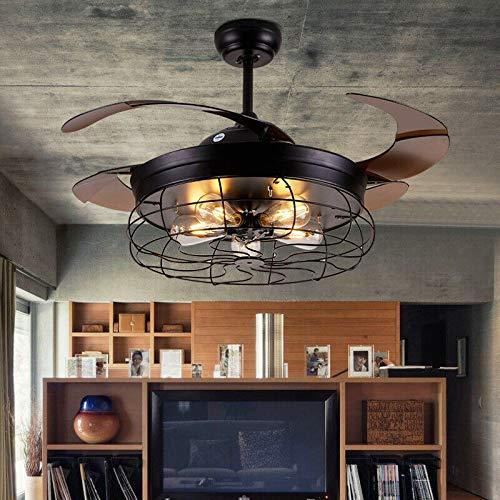 Ventilador de techo retráctil de 100 cm, lámpara LED colgante con mando a distancia, motor silencioso para comedor o salón
