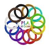 AKNMSOY - Filamento 3D para Pluma de impresión, 12 colores, 1,75 mm, 10 pies por color, total 200 pies, filamento de impresora 3D PLA para dibujo de lápiz 3D