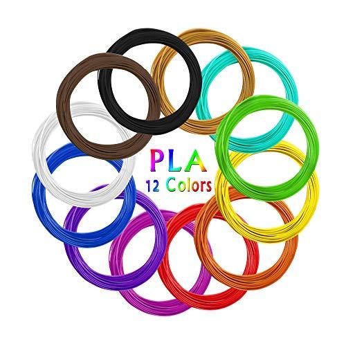 AKNMSOY - Filamento 3D a penna, 12 colori, 1,75 mm, 10 piedi per colore, totale 200 piedi per stampa 3D, filamenti per stampante 3D, PLA per disegno a penna 3D