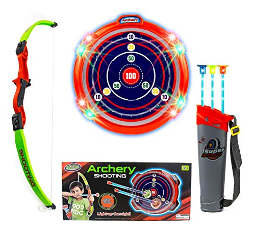 Toysery Kids Archery Bow and Arrow Toy Set - Target Practice with LED Flashing Lights and Sounds - Indoor Outdoor Toys, Garden Fun Game - Best Archery Bow & Arrow Toy Set for Kids Age 6 and Up