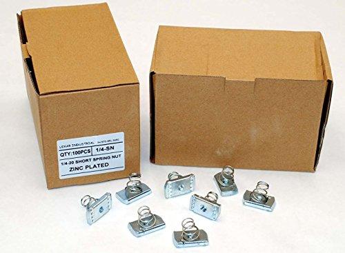 (100) Strut Channel Nuts 1/4-20 Short Spring Zinc Plated Unistrut Nut