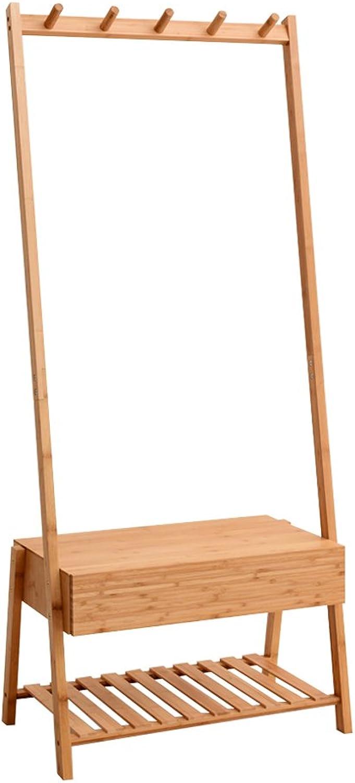 Coat Rack European-Style 5 Hooks Bamboo Floor-Standing Bedroom Hanger shoes Changing Stool shoes Rack Storage Shelves