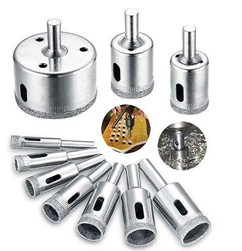 Juego de brocas de diamante - 10 piezas de brocas de núcleo hueco para vidrio y baldosas, extractor, herramientas de extracción, sierras para revestimiento de diamante, acero al carbono para vidrio,