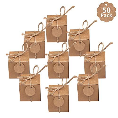 BELLE VOUS Kraft Geschenkboxen (50 STK) - 5x5x5cm Gastgeschenke Hochzeit Kleine Geschenke mit Karte&Hanfseilen - Geschenkbox Geburtstag für Süßigkeiten, Würfelbox Hochzeit