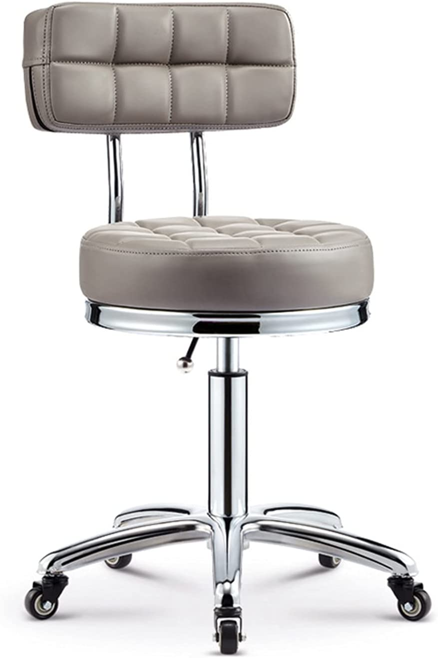 YJHome Swivel Salon Rolling Stool Chair with Backrest Wheels Height Adjustable Leather Hydraulic Chair Client Nail Pedicure Chair 440lbs Load-Bearing for SPA Salon Beauty Massage Home Office: Kitchen & Dining