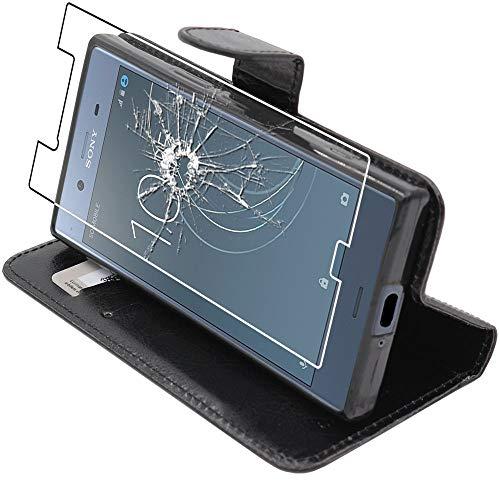 ebestStar - Cover Compatibile con Sony Xperia XZ1, XZ1 Dual F8342 Custodia Portafoglio Pelle PU Protezione Libro Flip, Nero + Pellicola Vetro Temperato [Apparecchio: 148 x 73.4 x 7.4mm, 5.2'']