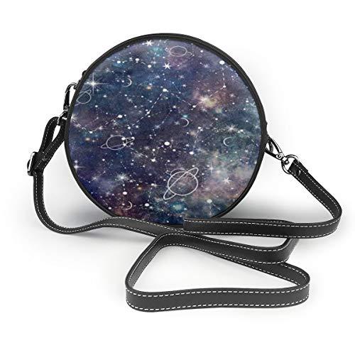 Star Constellation Galaxy Crossbody Round Bag PU Leather Handbags Purse Messenger Bag For Women