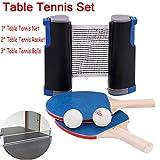 nobrand Red Ping Pong Funda de Tenis de Mesa portátil. Estante telescópico 1.9M 1 par de Tenis de Mesa estándar 2 Pares de Raquetas Azul