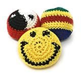 Hacky Sacks - Footbags (3 Pack) with Cool Knitted Designs, Filled with Plastic Beads and Styrofoam Balls for Better Play
