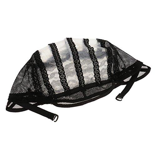 Fenteer Chapeau Bonnet de Perruque en Dentelle pour Fabrication de Perruque Tressé Dentelle Tissage Perruque -Noir - Noir